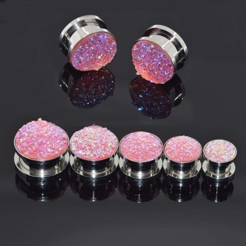 Pave-Shattered-Resin-Sparkling-Ear-Gauge-Stainless-Steel-Ear-Tunnels-Plugs-New