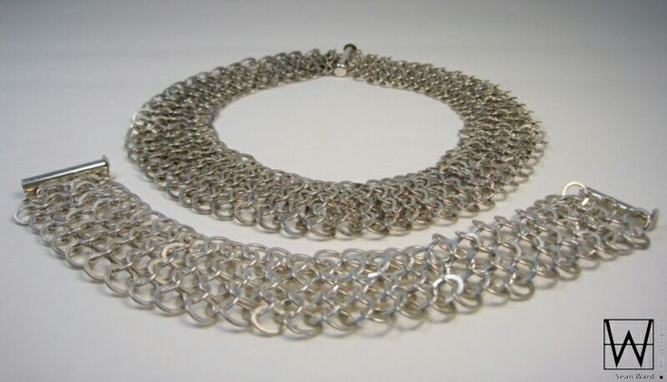 Stunning sterling silver chainmaille necklace and bracelet hand crafted by Sean Ward Jewellery Design. https://www.etsy.com/ca/shop/seanWardjewellery