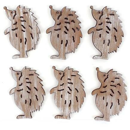 Christmas Hedgehog Wooden Toppers 6 Pack