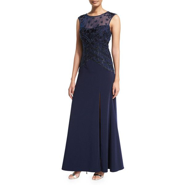 Sue Wong Sleeveless Cap-Sleeve Embroidered-Bodice Gown ($285) ❤ liked on Polyvore featuring dresses, gowns, navy, navy blue ball gown, navy evening gown, navy gown, blue ball gown and navy blue evening gown
