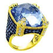 Кольцо из коллекции 18К Couture Collection/Monaco от Judith Ripka, золото, сапфиры, бриллианты.