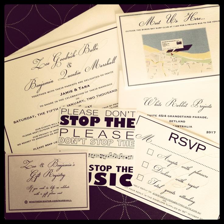 Mr & Mrs Benji Marshall Wedding Stationary I designed - Invitation package