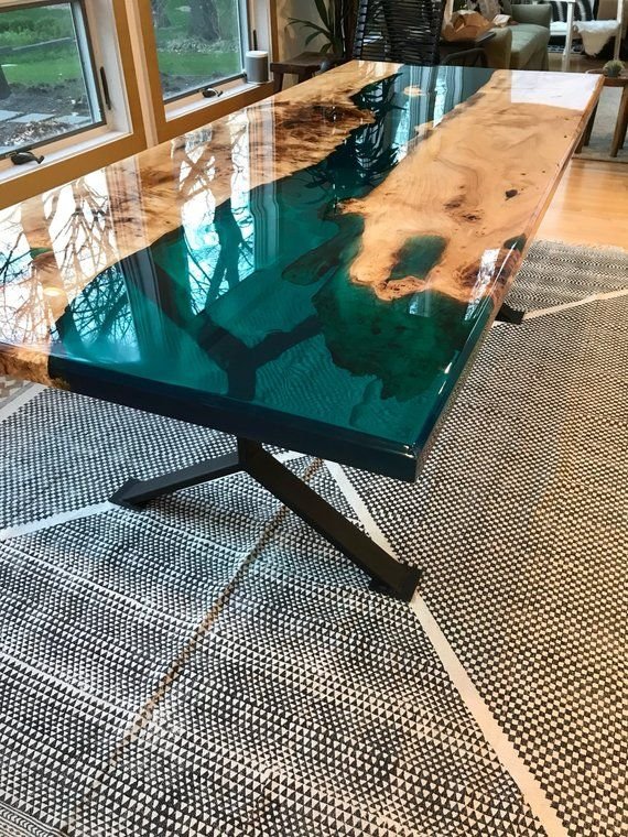 Turquoise resin river dining table