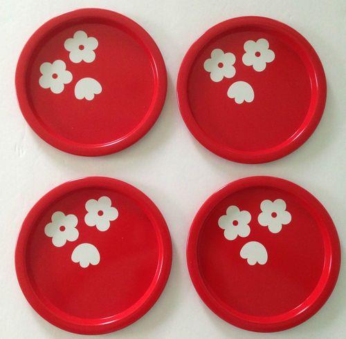 Set of 4 Aarikka Finland Finel Red Enamelware Metal Plates Flower Retro Modern | eBay