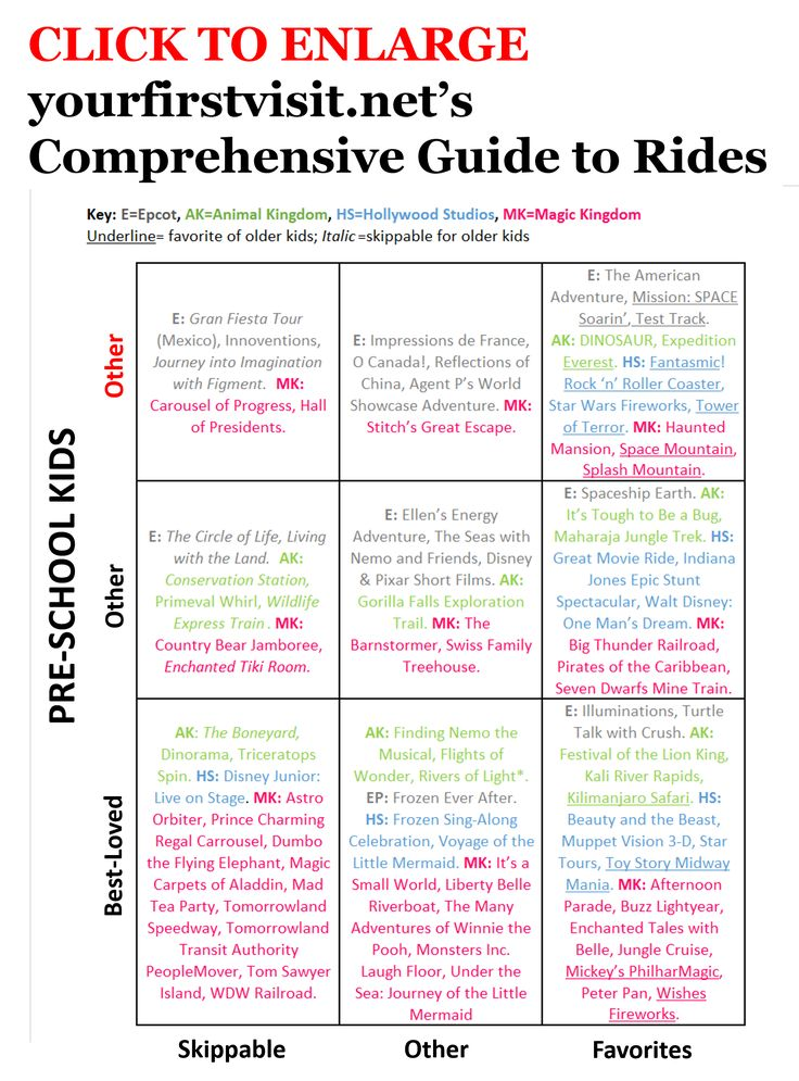 Disney World Tips   The Comprehensive Guide to Rides from yourfirstvisit.net - updated