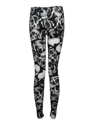 NEUE DAMEN STRETCH-LEGGINGS SKULL AND ROSE-PRINT GRÖSE SM-XXL (SM (36-38))