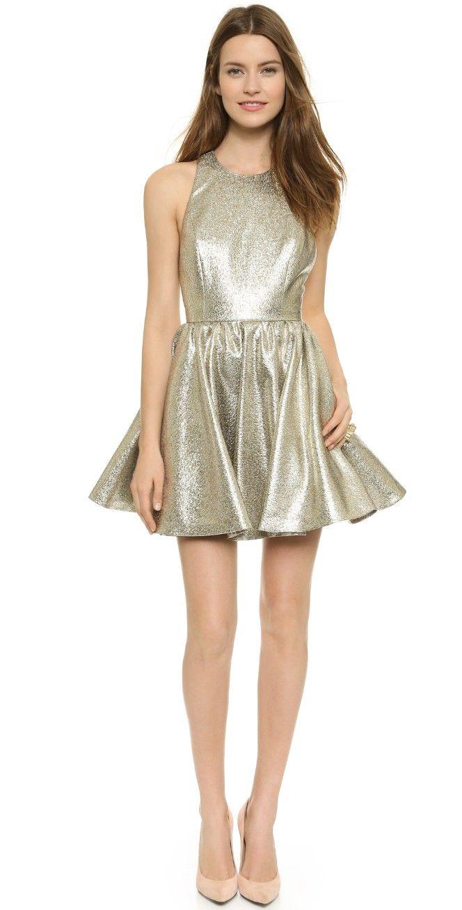 alice + olivia Tevin Metallic Party Dress | SHOPBOP