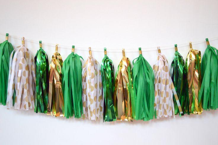 St. Patrick's Day Tassel Garland - St. Patrick's Day Decoration - Gold and Green Tassel Garland - St. Paddy's Day Decoration by tassellove on Etsy https://www.etsy.com/listing/223425715/st-patricks-day-tassel-garland-st
