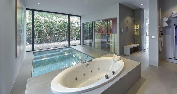 Ruimte met rechthoekig zwembad, jacuzzi en sauna