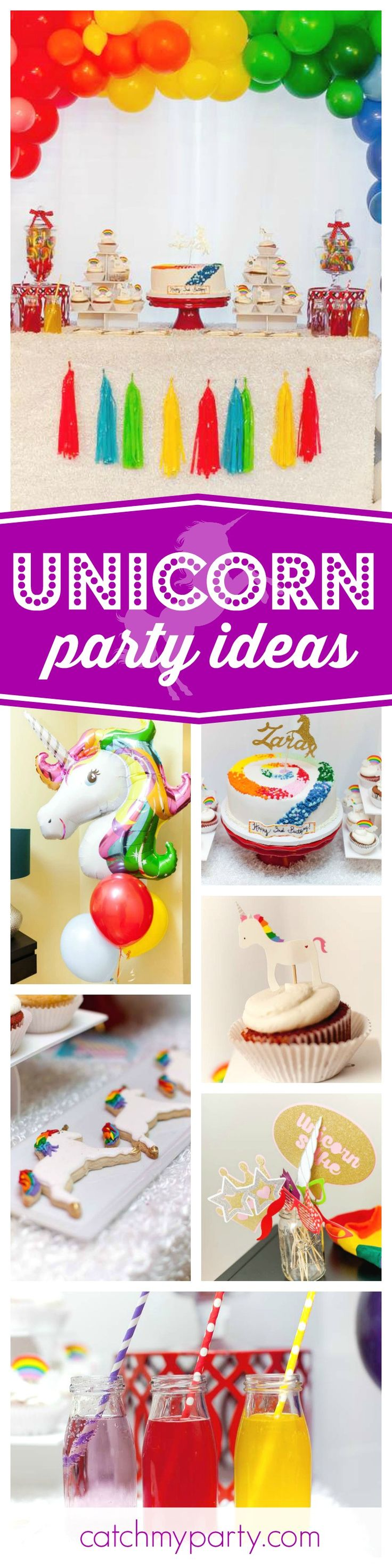Check out this awesome Rainbows and Unicorns birthday party! The unicorn cookies are adorable!! See more party ideas and share yours at CatchMyParty.com