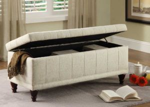 Leather Lift Top Storage Bench