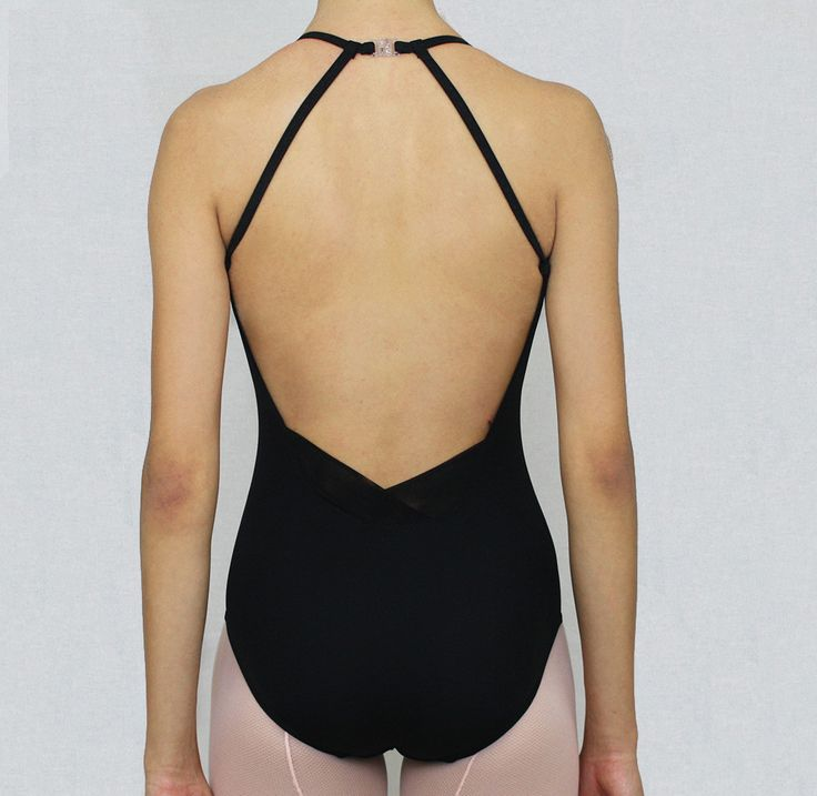 "Mesh ""V"" Leotard Black – Bullet Pointe"