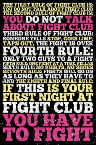Fight Club - 8 Rules poster