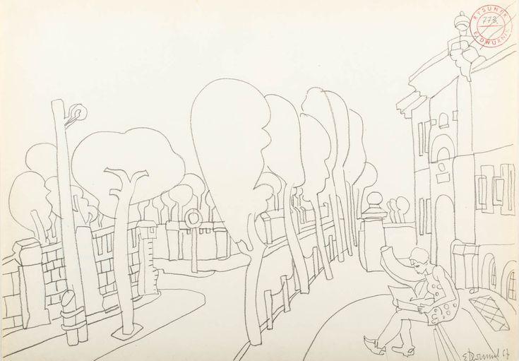 EDWARD DWURNIK (1943)  NA ŁAWECZCE   ołówek, papier / 29,5 x 42 cm