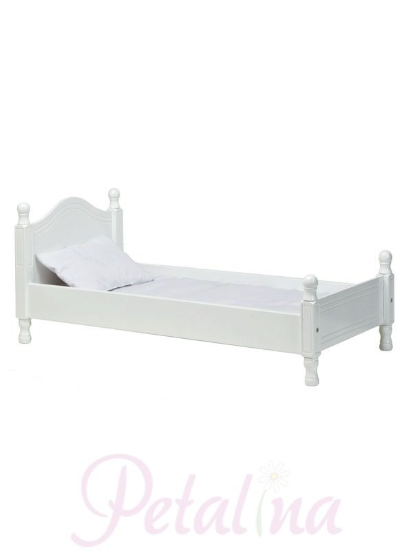 """A gorgeous doll sized white painted wooden bed inspired by the Victorian era. The bed is the right size for dolls up to 20"""" or 50cm in length and comes with a white cotton covered mattress and pillow. Bedlinen is available separately in various colours."""