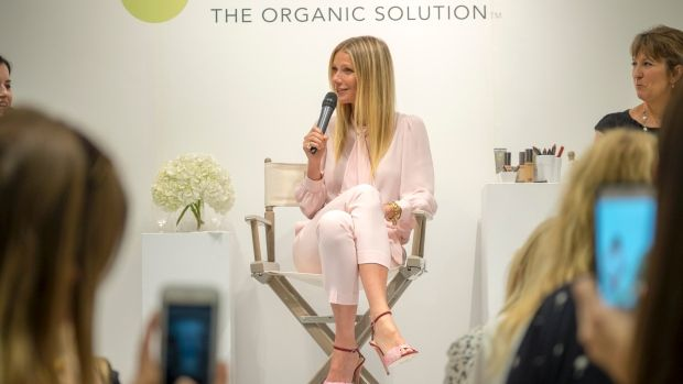 Actor and lifestyle guru Gwyneth Paltrow  takes the podium in Toronto on Thursday, July 14, to launch her new green beauty line.