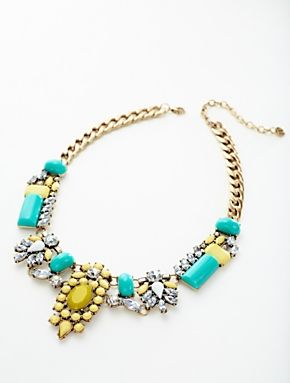 The it girl moment of accessories - Mosaic Tile bright colored statement necklace.