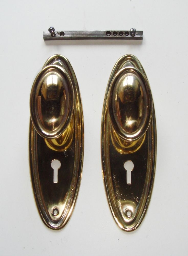 Original Pair Of Oval Brass Mortice Or Rim Latch Knobs Plates