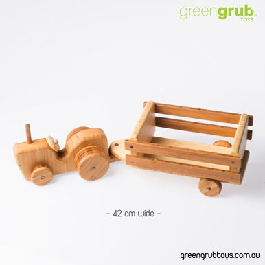 LARGE WOODEN FARM TRACTOR TOY