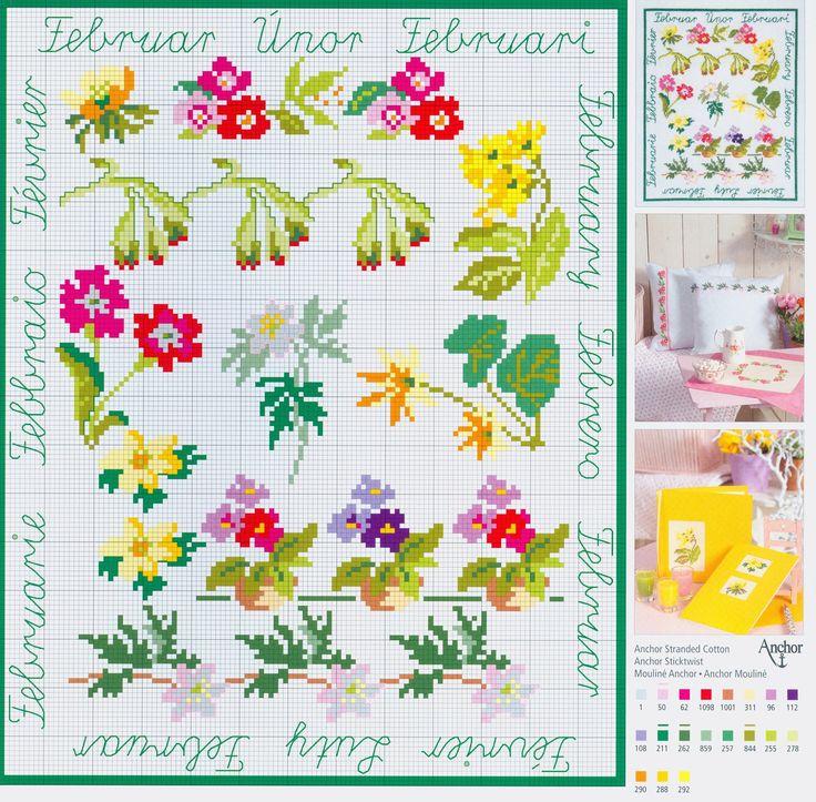 February Flowers free cross stitch pattern from www.coatscrafts.pl