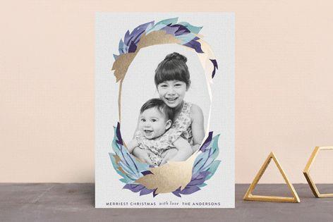 """gilded leaf frame"" - Bohemian Foil-pressed Holiday Cards in Ocean by Phrosne Ras."