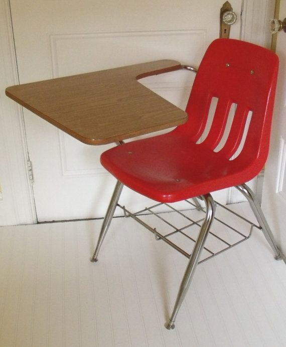 Swell Mid Century Virco Red Arm Chair Desk Vintage School Caraccident5 Cool Chair Designs And Ideas Caraccident5Info