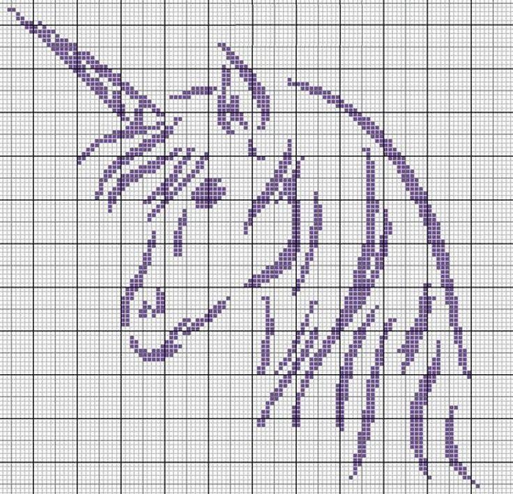 Risultati immagini per schema unicorno punto croce