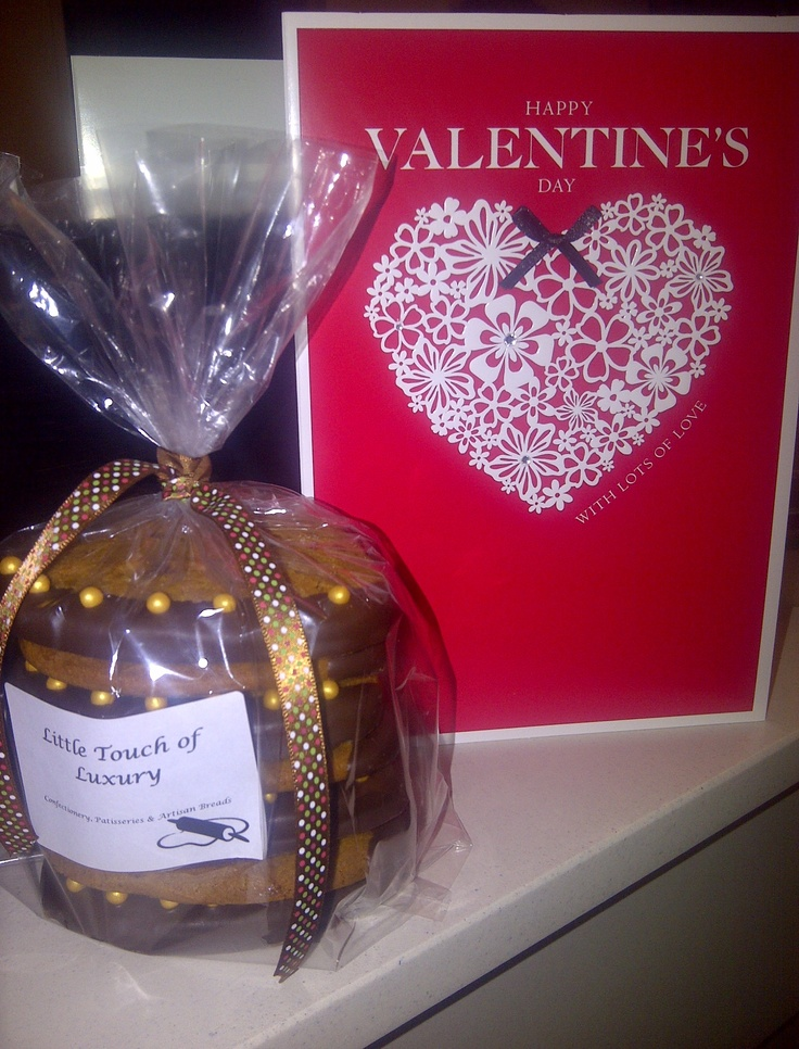 Heart shaped bespoke order - Triple Ginger Gingernut Biscuits - half dipped in deep chocolate. Sweets for your sweet!