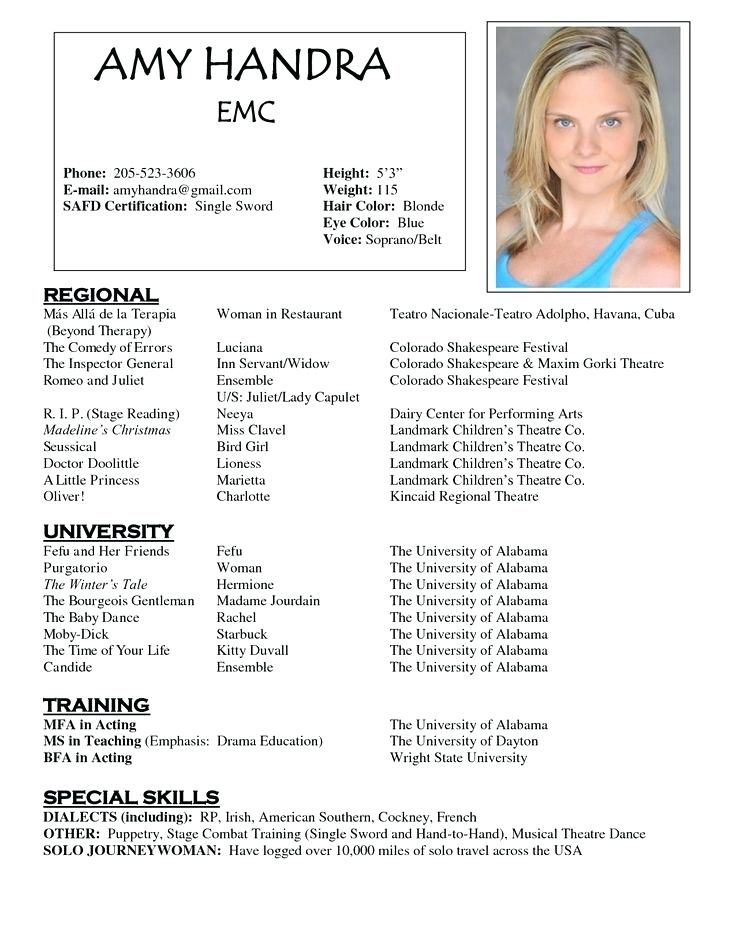 best acting resume template ideas on free resume - Actress Resume Template