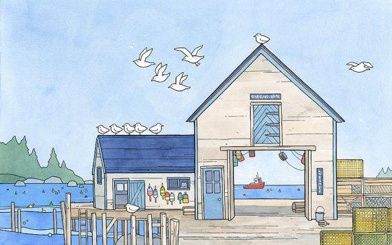 Maine Lobster Company illustration, whimsical, nautical art