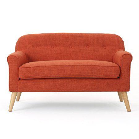 Groovy Mia Mid Century Modern Loveseat Muted Orange Walmart Com Pdpeps Interior Chair Design Pdpepsorg
