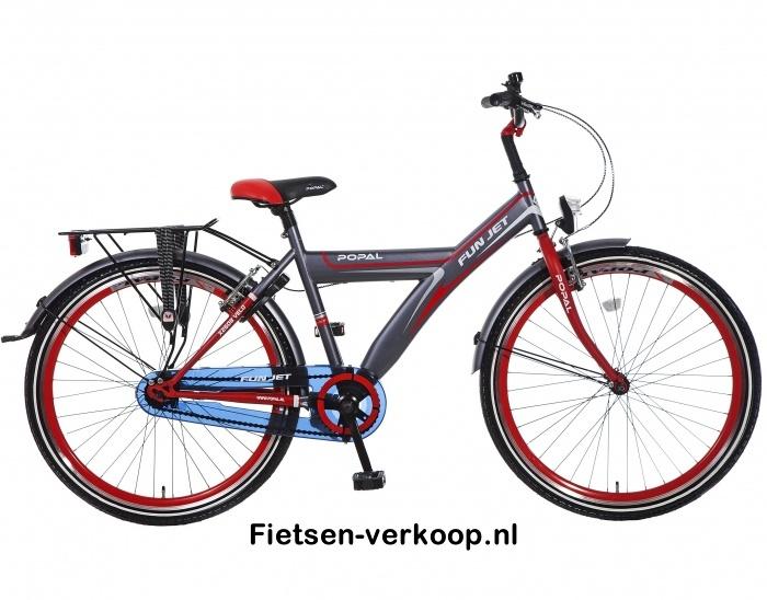 Jongensfiets Fun jet Grijs-Rood 26 Inch | bestel gemakkelijk online op Fietsen-verkoop.nl