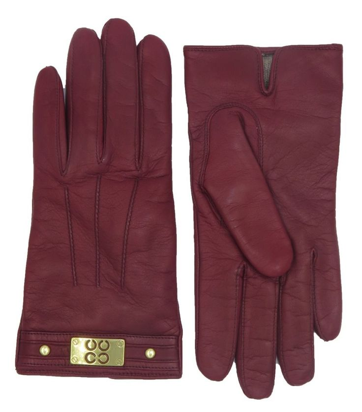 89.99$  Buy here - http://vivif.justgood.pw/vig/item.php?t=5227yun32716 - COACH Woman's Cranberry Red Leather Cashmere Lined Logo Winter Gloves F82045