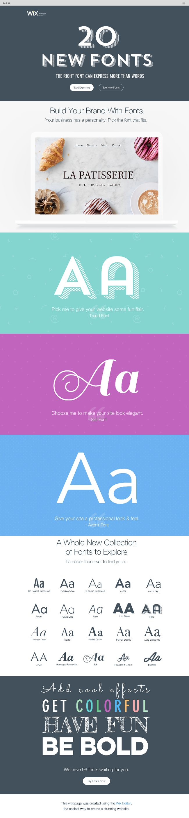 Wix.com now has 20 stunning new fonts to help express your message. Explore all the ways you can use fonts to make your site look amazing.