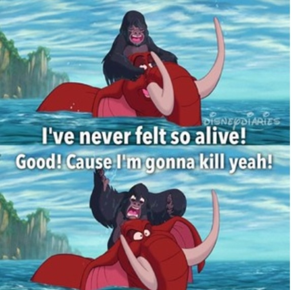 This is how I feel when someone is peppy early in the morning. lol Scene from Tarzan