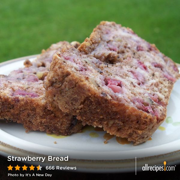 "Strawberry Bread | ""This is by far the best strawberry bread recipe I've found over the years - the pecans are a very nice touch - as others suggested, I added alot more strawberries - probably making it almost 4 cups of them - also a few drops of vanilla extract.""  -peggy"