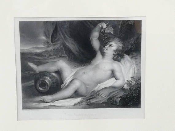 Bacco bambino-stampa antica francese da incorniciare-regalo