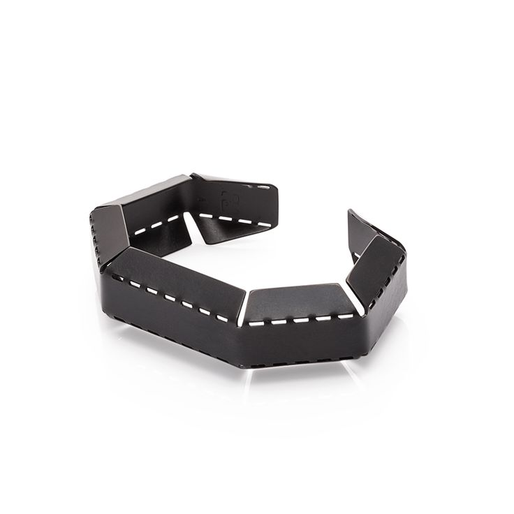Handcrafted bracelet made of black stainless steel.