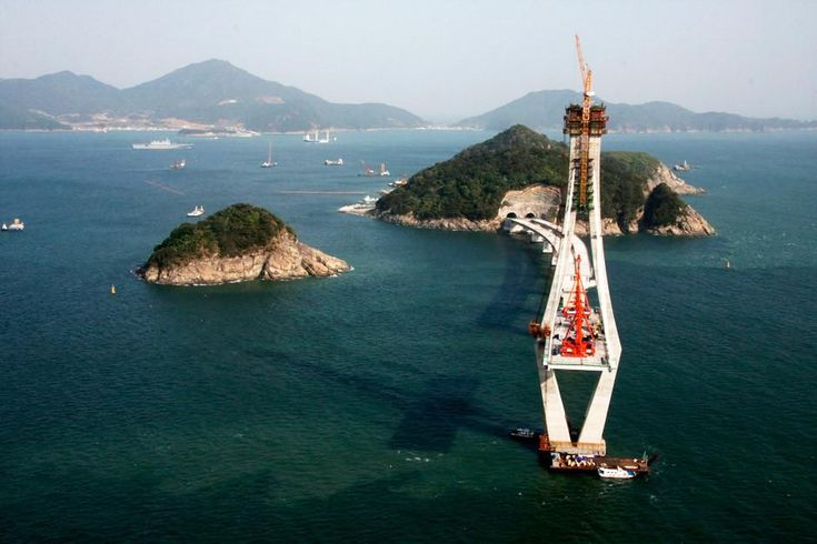 Jinhae Bay, Gyeongsangnam-do, South Korea: View from the top of the pylon at the two-pylon cable-stayed bridge section between Jungjuk Island and Jeo Island.