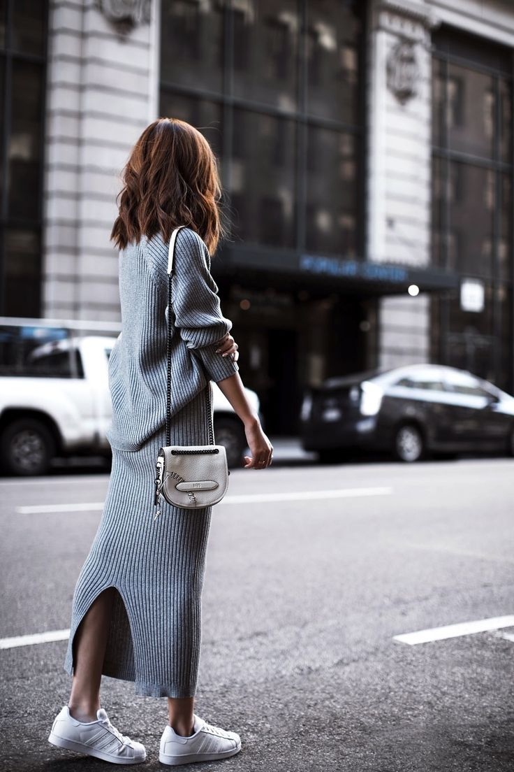 wavy bob, grey ribbed matching sweater and skirt set and Adidas sneakers // fall and winter style // sweater dress