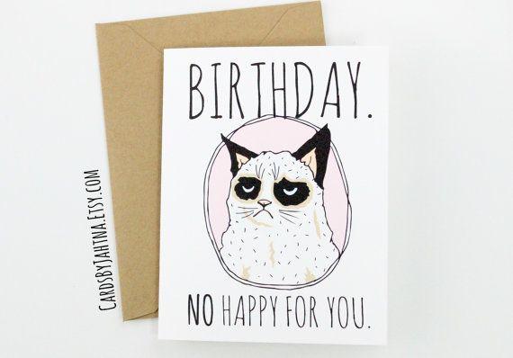 FUNNY Grumpy Cat Birthday Greeting Card Birthday. by CardsByJahtna, $3.99