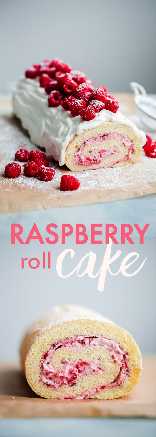 Raspberry Roll Cake - sponge cake filled with fresh raspberries, raspberry jam, and whipped cream. This light, airy cake recipe is perfect for summer!