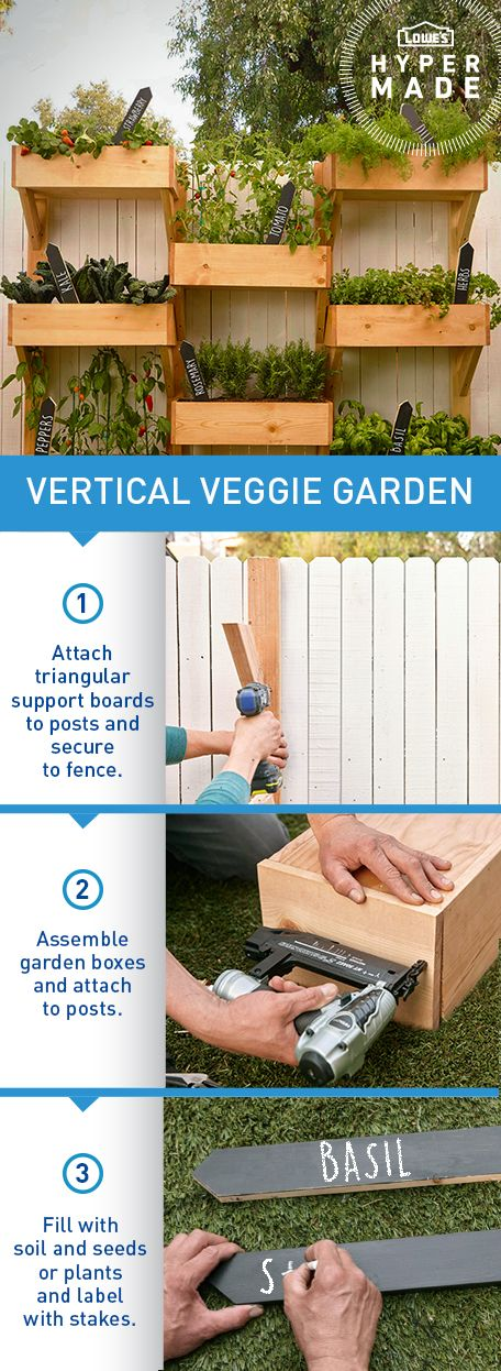 Imagine having fresh dinner ingredients in your own backyard! With this DIY vertical garden, seasonal veggies and herbs are just out your back door.