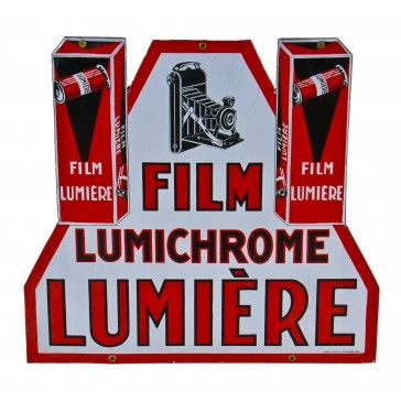"""remarkably well-preserved all original c. 1930's """"new old stock"""" art deco style vitreous or porcelain enameled french exterior lumichrome film hanging sign fabricated by or for email als, strasbourg, france. - See more at: http://www.urbanremainschicago.com/emarkably-rare-new-old-stock-double-sided-french-art-deco-porcelain-enameled-lumichrome-film-advertising-sign.html#sthash.TZH8WwO2.dpuf"""