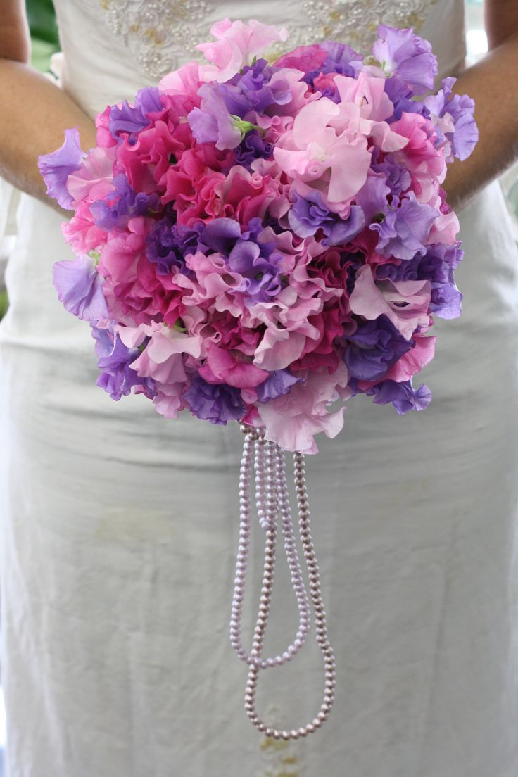 Sweet pea wedding bouquet - sweet peas have just arrived at Sydney flower markets - April 2012