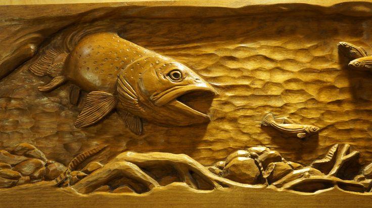 Lpostrustics aquatic hand carved wood panel