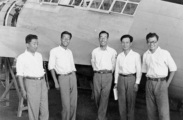 Mitsubishi Heavy Industries aircraft designers, Jul 1937; note Yoshitoshi Sone at left and Jiro Horikoshi at center