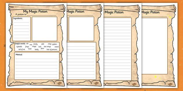 Magic Potion Writing Worksheet
