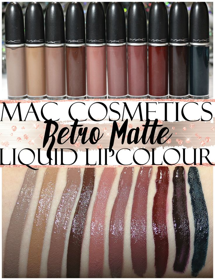 MAC Retro Matte Liquid Lipcolor swatches L-R: Flesh Stone, Dash O' Spice, Cafe au Chic, Chocotease, Burnt Spice, So Me, Topped With Brandy, Carnivorous, Uniformly Fabulous, Young Attitude