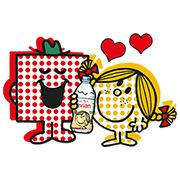Sticker evian × Mr. Men Little Miss 100 coins - https://www.line-stickers.com/evian-x-mr-men-little-miss/